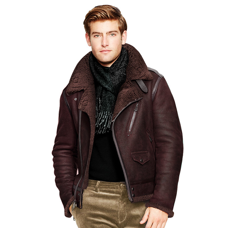 Free Shipping.winter Warm Mens Biker Wool Fur Jacket,classic B3 Vintage Genuine Leather Jacket.thick Sheepskin Shearling Coat.