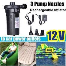 Tragbare Luftpumpe Elektrische Aufblasbare Kompressor Für Boot Matratze Pool 12 V 220V Mini Inflator 4500MAH Wiederaufladbare 3 düsen