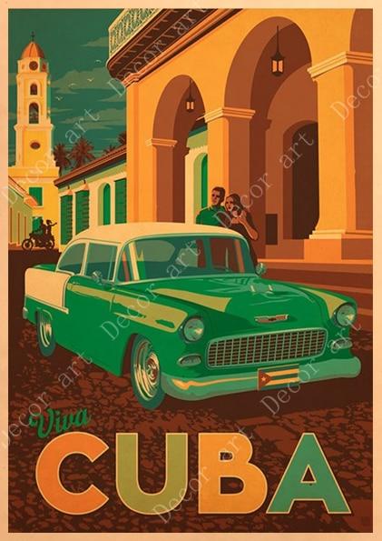 REDWPQ Ville La Havane Cuba Pop Art Voyage Affiche Vintage R/étro Toile Peinture DIY Papier Peint Affiches Maison Cadeau D/écoration Toile 50X70Cm sans Cadre