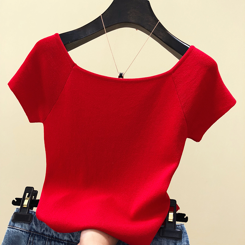 Solid Square Collar Knitted T-shirt New Female Short Sleeve Simple Knitted Tshirts Tops For Girls 2020 Summer