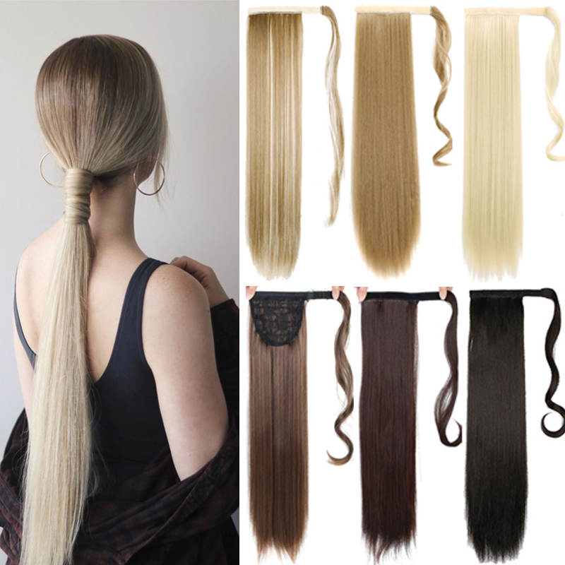 MUMUPI Women Fashion Thick Hair Wrap Around Ponytail 1Pc Clip In PonyTail Straight Extension Headwear