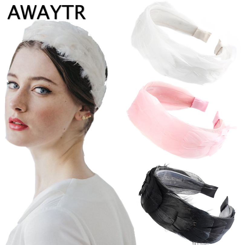 AWAYTR Women Elegant Top Knot Feather Headband Hairbands Hair Holder Turban Fashion Candy Color Hair Hoop Hair Accessories