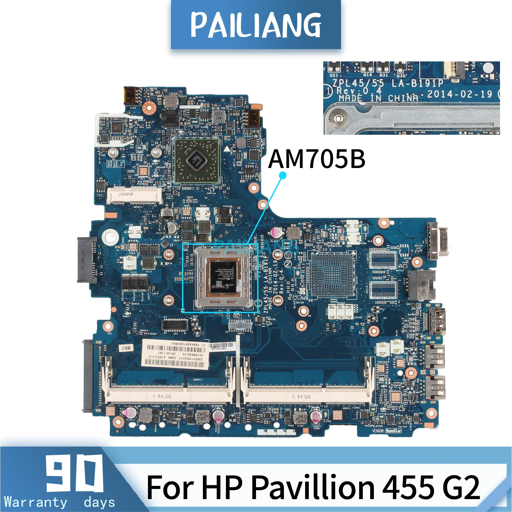 PAILIANG Laptop <font><b>motherboard</b></font> For <font><b>HP</b></font> Pavillion <font><b>455</b></font> G2 Mainboard Core AM705B TESTED ddr3 image