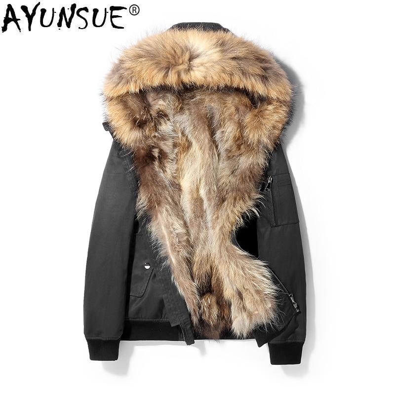 AYUNSUE Real Fur Coat Men Parka Short Winter Jacket For Men Natural Raccoon Fur Collar Warm Luxury Coats Abrigo Hombre M18C0544