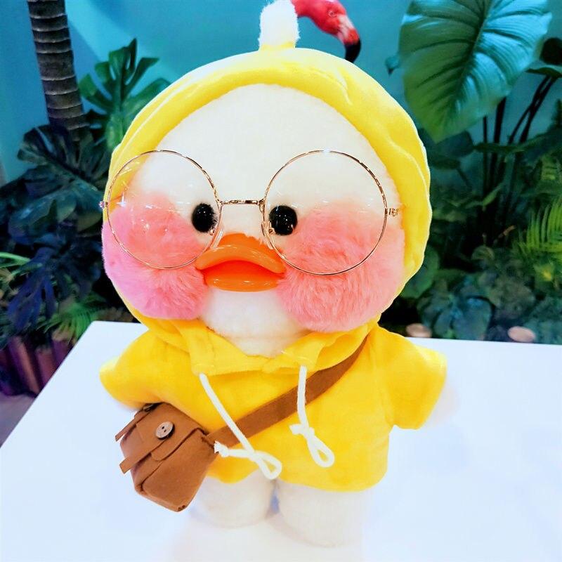 Pato de felpa de 30CM Rosa LaLafanfan Kawaii Cafe Mimi amarillo, lindo muñeco de peluche, muñecas de animales suaves, juguetes para niños, regalo de cumpleaños para niña