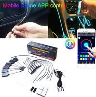 6 Meter Fiber Optic Atmosphere RGB Lamps App Control 64Color NO Threading Decorative Dashboard Door with Foot light Car Interior