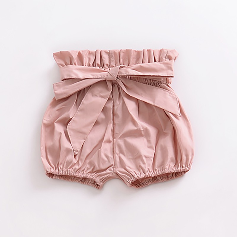 Girls Summer Soft Cotton Bow Wood Ear Bread Bloomers Floral Plaid Print Shorts Bloom Pants 0-24M Lovely Newborn Baby Clothes