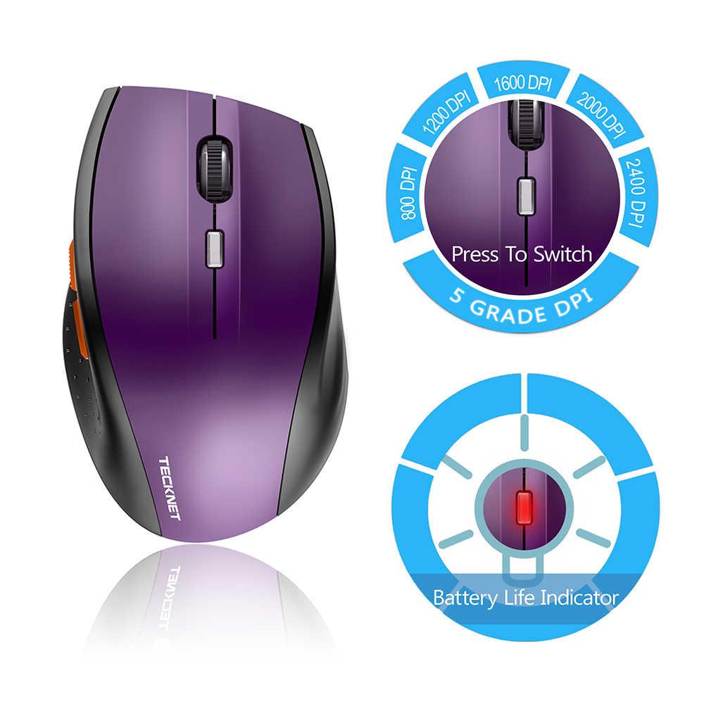 TeckNet 光学式マウス 2.4GHz ワイヤレスマウス 2400 DPI 6 ボタン USB ナノレシーバーコンピュータマウス
