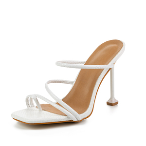 Image 3 - Pzilae new summer women slippers high heel slides female square toe thin heel sandal vacation flip flops mujer shoes