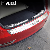 Hivotd For Tesla Model 3 Car Rear Trunk Bumper Protector pedal Inner Outer Stainless Steel Panel Auto Exterior Accessaries 2019