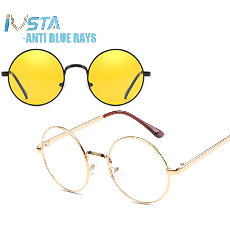 IVSTA Computer Glasses Round anti Blue Light Blocking Optical Frame Women Myopia Men for Harri Potter Style Night Sunglasses