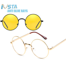 IVSTA Computer Glasses Round anti Blue Light Blocking Optical Frame Women Myopia
