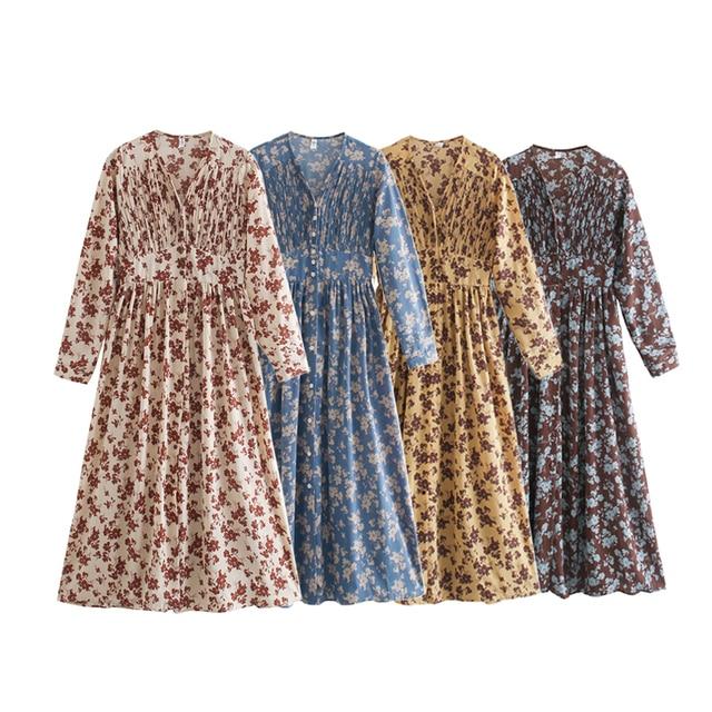 Toppies 2021 spring women dress long sleeve midi dress floral printing single breasted v-neck korean fashion clothings 1