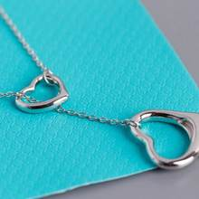 s925 silver 1:1 fine double heart-shaped ladies clavicle chain charm all-match necklace