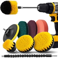 Drill Brush Attachment Set  Drill Brush Kit Scrub Pads & Sponge Power Scrubber Brush with Extend Long Attachment for Grout Tiles|Grinders| |  -