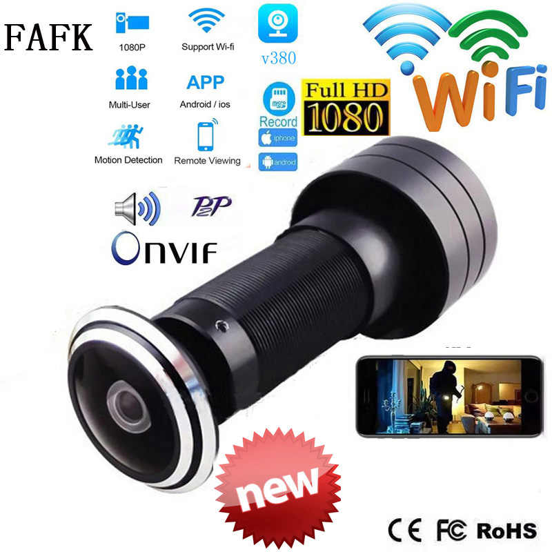 V380 باب ثقب العين الأمن 1080P HD 1.7 مللي متر عدسة زاوية واسعة للعين السحرية CCTV شبكة ثقب الباب واي فاي onvif كاميرا P2P