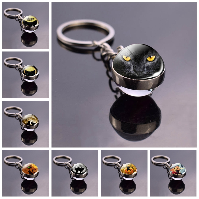Black Cat Eyes Keychain Keyring Halloween Cat Glass Ball Pendant Key Chain Rings Keyholder Halloween Party Cosplay Gifts