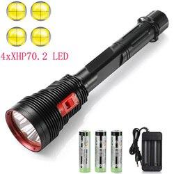 السوبر مشرق 4 x XHP70.2 الغوص مصباح يدوي IPX8 الغوص أضواء 200 متر تحت الماء LED الشعلة مصباح غاطسة لتحت الرياضات المائية