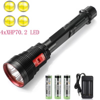 Super Bright 4 x XHP70.2 Diving Flashlight IPX8 Scuba Lights 200M Underwater LED Torch Submersible lamp for Under Water Sports