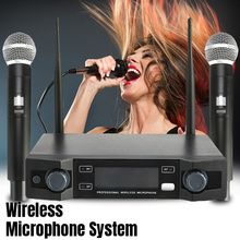 LO-U02 беспроводной 2 ручной УВЧ частоты Динамический капсула 2 канала двойной ручной микрофон для караоке системы Вечерние