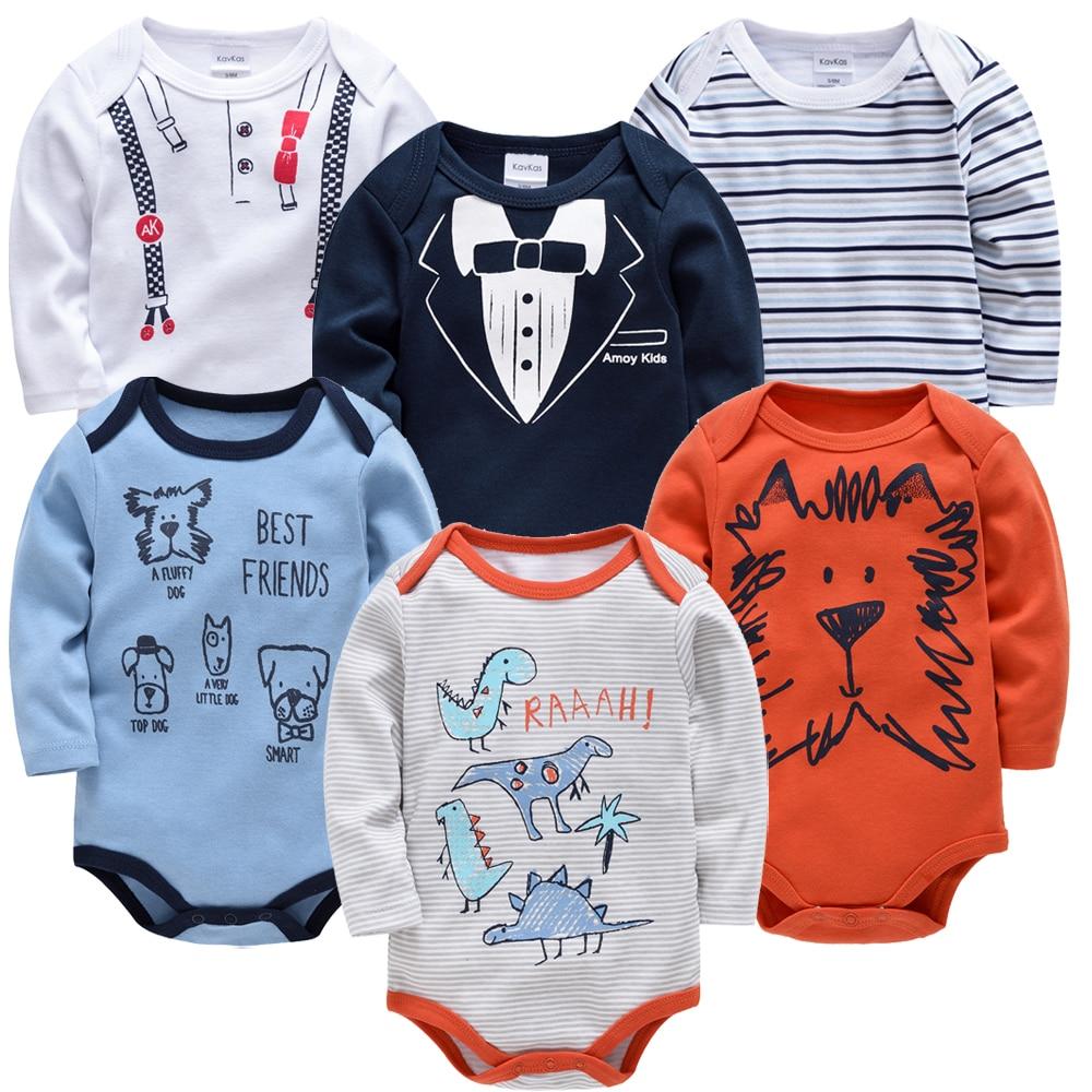 Kavkas 6 3pcs/lot long Sleeve Newborn Baby Bodysuit kids Clothing bebes Baby Boy Girl clothes set body suits