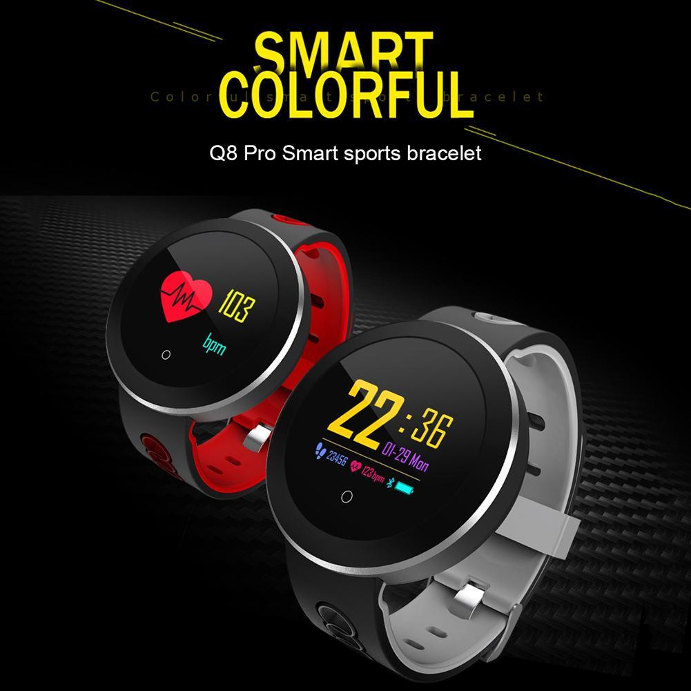 1.0 Inch Q8Pro Colorful Screen Smart Sports Bracelet IP68 Waterproof Sleep Monitoring Smart Watch Red Gray Green White Vibration