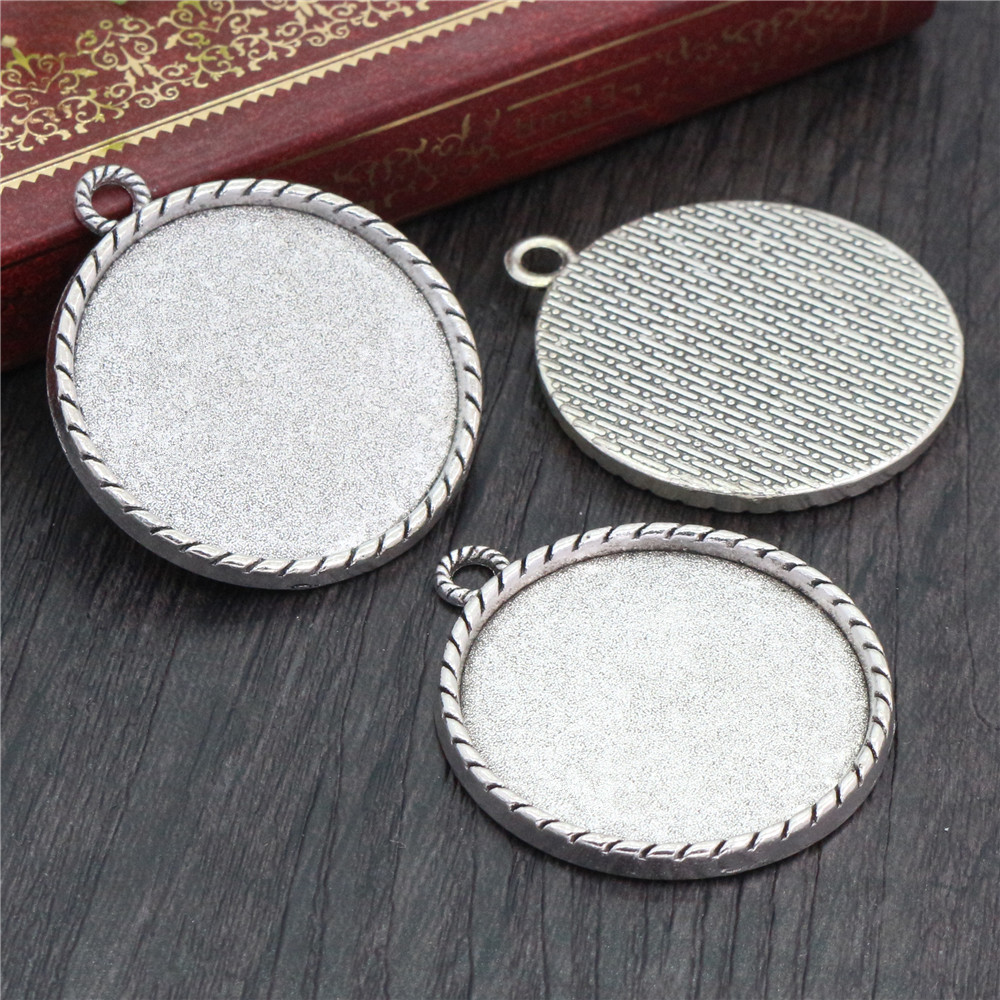 5pcs 30mm Inner Size Antique Silver Plated Classic Style Cabochon Base Setting Charms Pendant (B5-14)