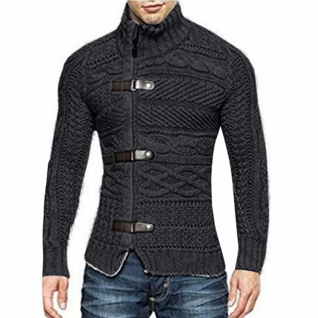 Qualität Herbst herren langarm stand-kragen gestrickte pullover lässig herren dicke strick zipper pullover mäntel herren tops jacke