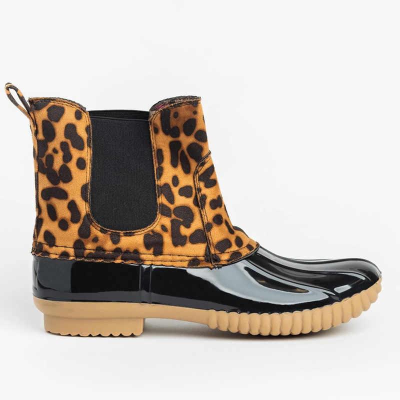 Новые женские ботильоны с леопардовым принтом; женская зимняя обувь; ботинки; женская обувь; теплые женские зимние ботинки; Botas Mujer; большие размеры 43