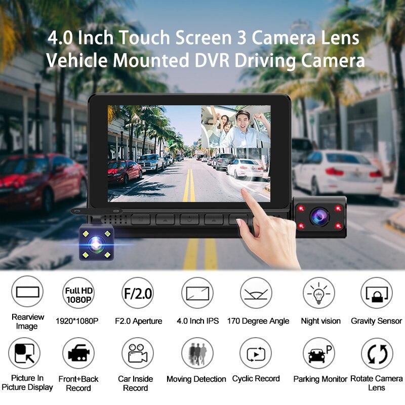 ACCEO Car DVR 3 Cameras Lens 4.0 Inch Dash Camera Dual Lens With Rearview Camera Video Recorder Auto Registrator Dvrs Dash Cam 2