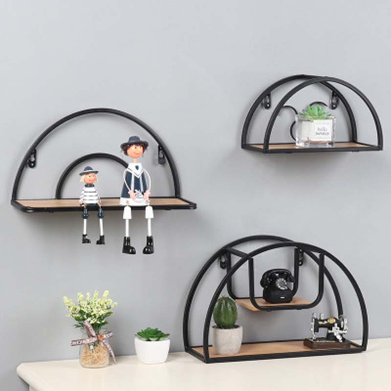 Nordic Iron Wood Semicircle Wall Decorative Shelf Wall Hanging Geometric Figure Storage Rack Potted Plant Holder Home Decor 1PC
