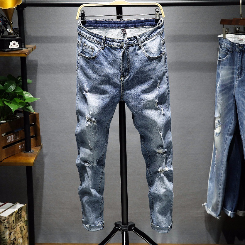 J96 Popular Brand Men Summer Thin Section Light Color Hole Jeans Capri Skinny Pants Men's Korean-style Trend Men's Trousers
