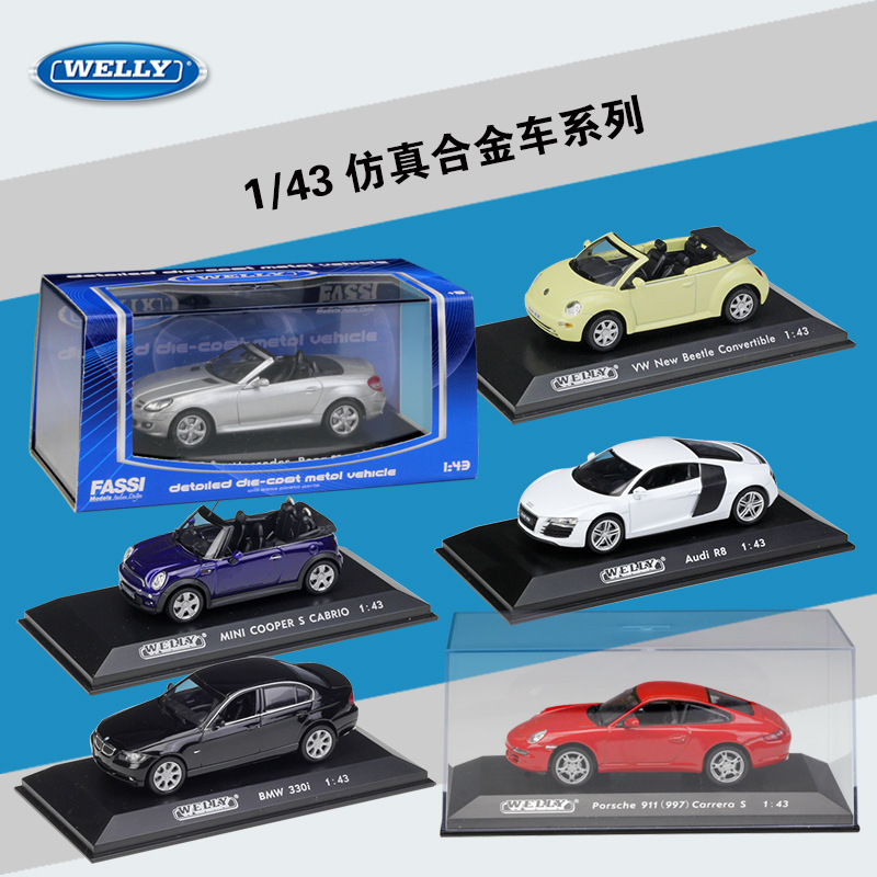 1:43 WELLY Simulator Diecast Vehicle Metal Model Car Porsch/Benz VW Golf Alloy Sports Car SUV Toy Cars Collection For Kids Gifts