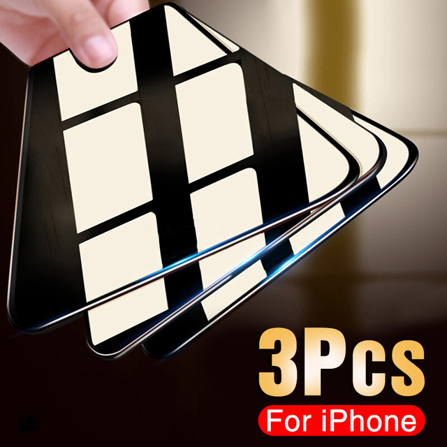3PCS Protective Glass on the For iPhone 11 Pro X XR XS Max Tempered Screen Protector For iPhone 7 8 6 6s Plus 11 PRO Max Glass 1