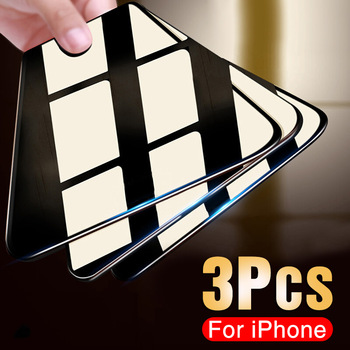 3PCS Protective Glass on the For iPhone 11 Pro X XR XS Max Tempered Screen Protector For iPhone 7 8 6 6s Plus 11 PRO Max Glass