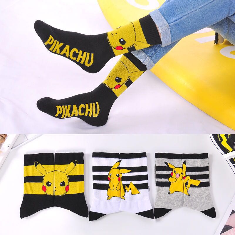 Pikachu Socks Women Cartoon Anime Pokemon Kawaii Harajuku Cotton Non-slip Men Home Black White Gray Couples Socks