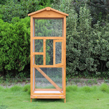 PawHut Bird Cage Large Parrot for Wooden Garden 68 × 63 × 165 cm 4