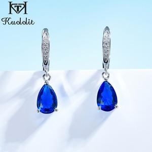 Kuololit Genuine 925 Sterling Silver Clip Earrings for Women Blue Sapphire Gemstone Earrings Jewelry Wedding Birthstone Gift