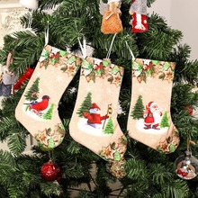 3D Printed Pattern Christmas Stockings Garland Candy Storage Party Ornaments Seasonal Hanging Decoraction