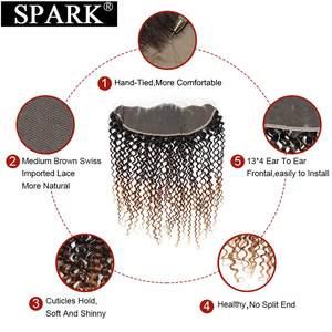 Image 4 - Kıvılcım Remy gölgeli insan saçı demetleri ile Frontal brezilyalı Afro Kinky kıvırcık saç insan saçı Frontal demetleri ile siyah kadınlar için