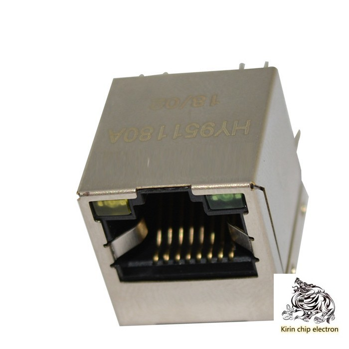 10PCS/LOT HY951180A Network Transformer Vertical Direct Plug 180 Degree RJ45 Network Port With Lights