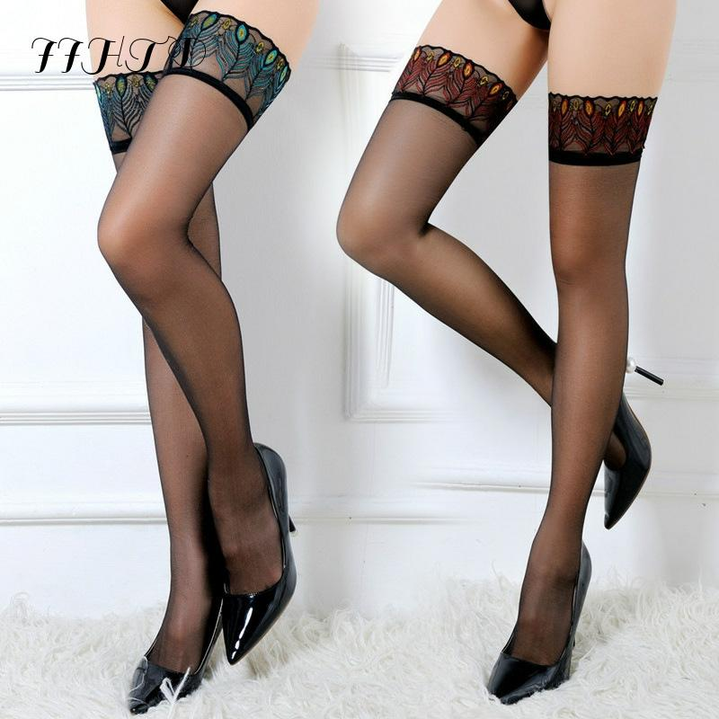 Fashion Sexy Solid Color Women's Ladies Lace Ultra-thin Transparent Long Stockings Holding Ups Thigh High Stockings