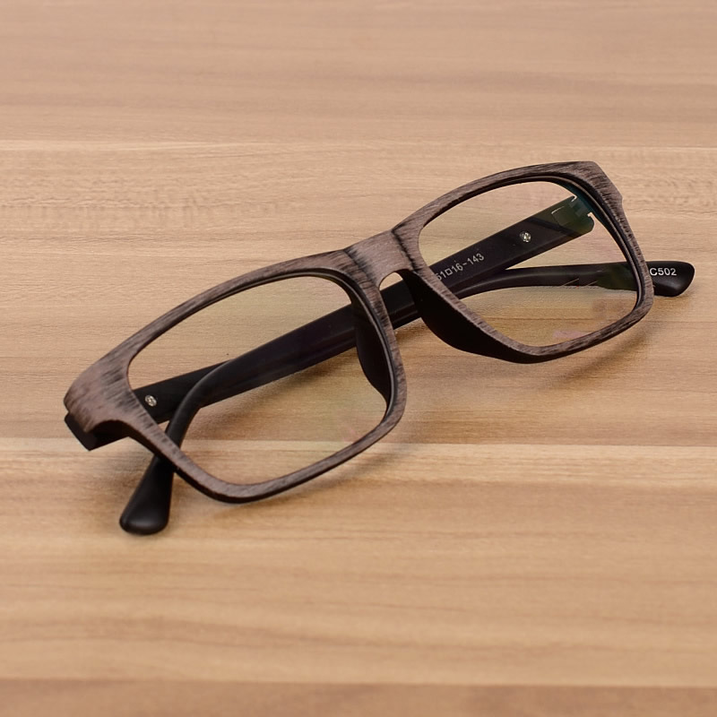 Vazrobe Unisex Wood Grain Glasses Men Women Clear Lens Eyeglasses Frame For Optical Prescription Vintage Men's Diopter Myopia