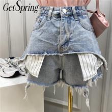 Getsspring spodenki damskie Retro fałszywy dwa spodenki jeansowe wysokiej talii szerokie nogawki szorty na lato luźne wszystkie mecze krótkie spodnie 2020 niebieski szary cheap COTTON REGULAR Osób w wieku 18-35 lat High Street NWN-5155 Kieszenie Zipper fly Wysoka denim Patchwork blue S M L