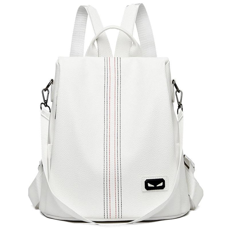 White PU Leather Backpack For Women Travel Backpack School Bags For Teenage Girls Fashion Rucksack Sac A Dos Mochila Feminina