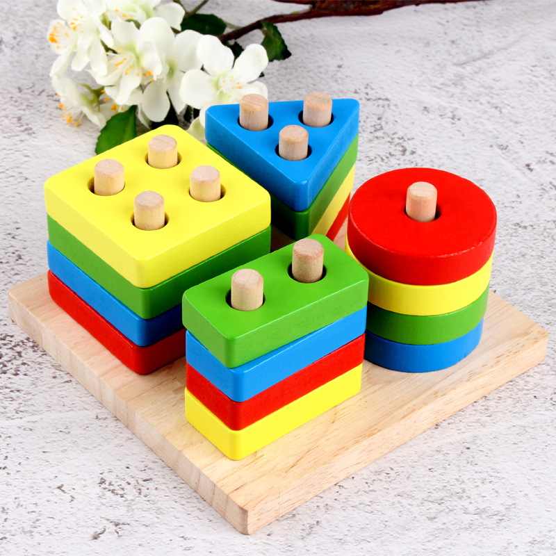 Baby Geometric Sorting Board Blocks Educational Wooden Toys Montessori Building Blocks Wood Children Stacking Toy Wood Natural