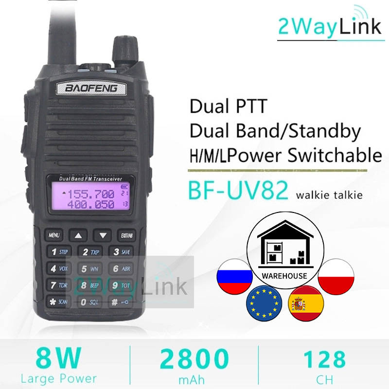 Headset Radios Walkie-Talkie Uv-9r 8-Watt Baofeng Uv 8W UV-82 U/V 10-Km Ham 5W