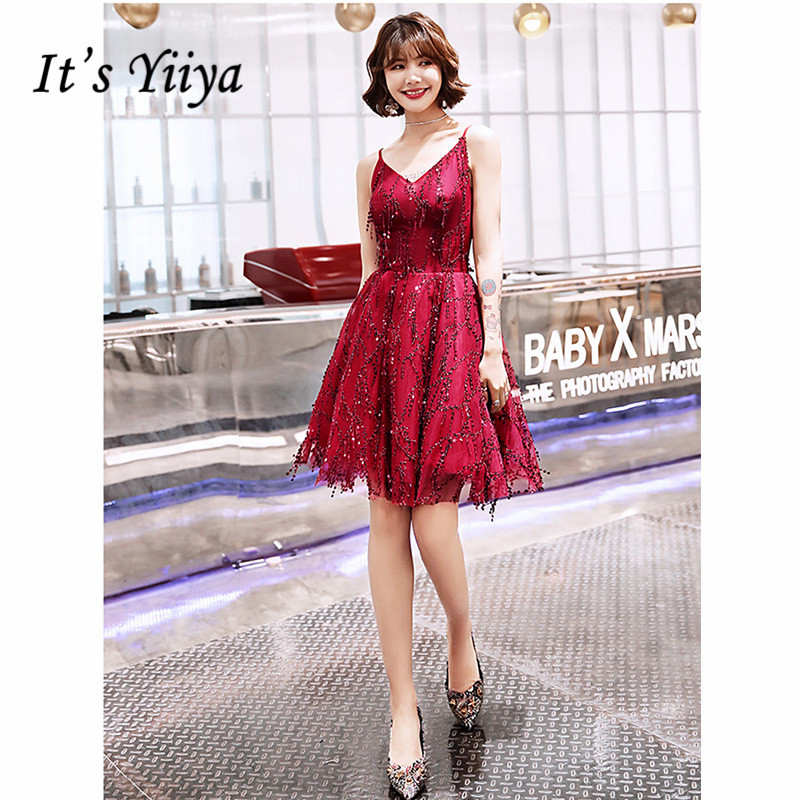 It's Yiiya Cocktail Dress 2019 Sleeveless Spaghetti Strap Short Burgundy A-Line Dresses Sequins Party Night Robe Cocktail E1284