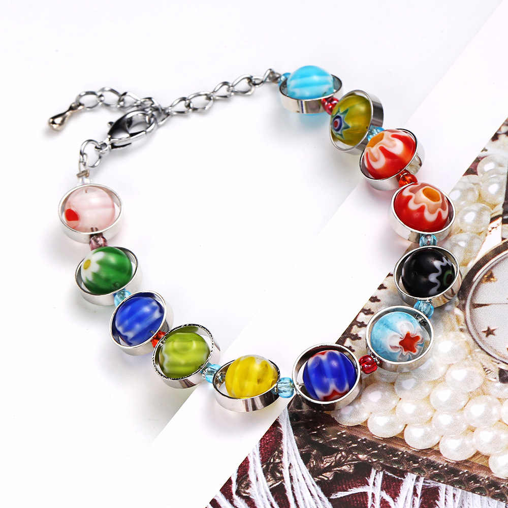 Fashion Cute Glaze Beads Gelang Perhiasan Buatan Tangan DIY Stainless Steel Gelang untuk Wanita 2018