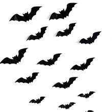 16PCS Halloween 3D Bats Decorations PVC Window Stickers Wall Art Decals DIY Party Supplies